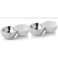 Crescent Bowls -Stainless Steel and Ceramic