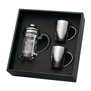 Coffee Plunger & 2 Mug Set